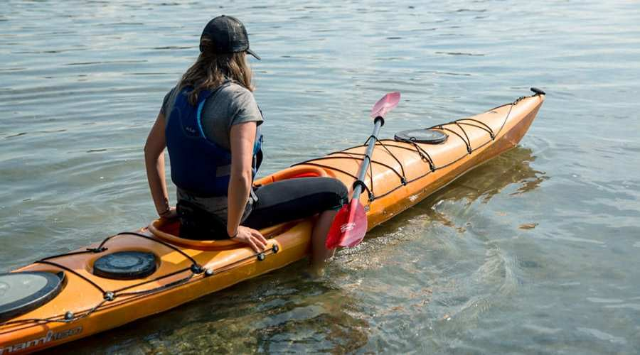 Getting in kayak from shore