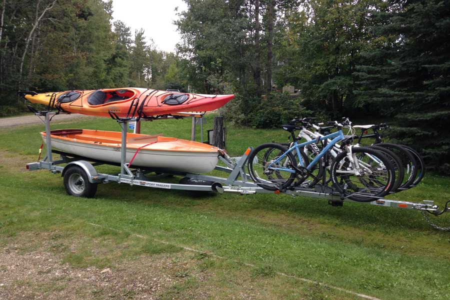Multi functional kayak trailer
